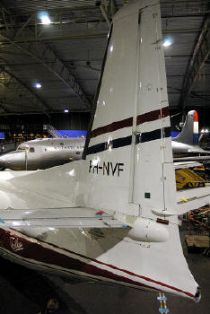 Tail of the Fokker F.27 Friendship prototype, PH-NVF  in the Aviodrome Museum Park at Lelystad, Netherlands